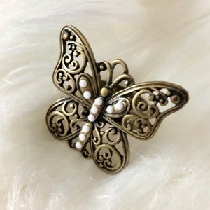 Butterfly Statement Ring Oxidized Brass Gold